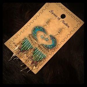 Beaded Crescent Dream Catcher Earrings
